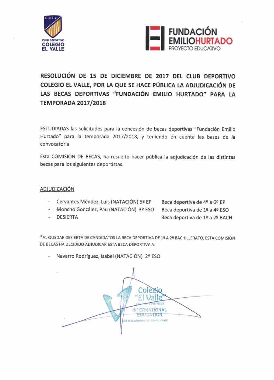 RESOLUCIÓN BECAS DEPORTIVAS 2017-2018 001