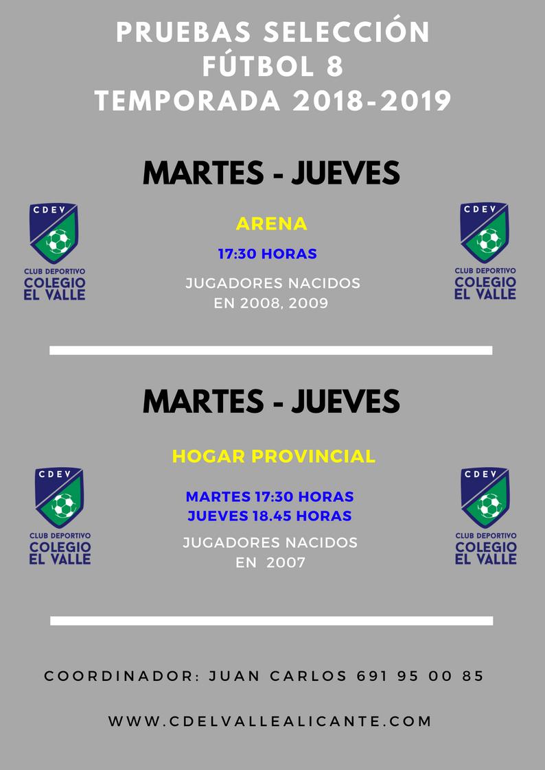 PRUEBAS SELECCIÓNFÚTBOL 8TEMPORADA 2017-2018
